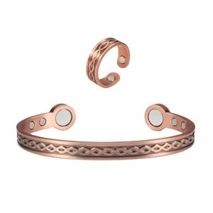 Wave Design Magnetic Copper Bangle Bracelets Rings Set for Women Men Pain Relief for Arthritis with 6 Magnets 7inch
