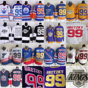 Vintage 99 Wayne Gretzky Los Angeles Kings Edmonton Oliers St. Louis Blues New York Rangers La Noir Bleu Pourpre Blanc Blanc Hockey Jerseys