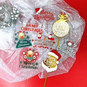 Christmas Cake Decorations Acrylic Cartoon Elk Santa Dessert Dress Up Cake Card Cake Tools Party Supplies XD24272