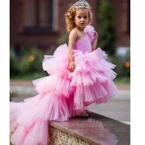 New Arrival Summer Flower Girls Dresses Tulle Lace Top Spaghetti Formal Kids Wear For Party Free Shipping Toddler Gowns V68