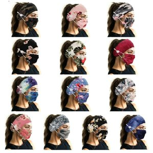Lady Girl Print Floral Camouflage Fashion Button Anti-stroke Soft Headband with Face Mask Set Yoga Sports Elastic Hair band