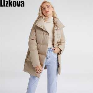 Lizkova Winter New White Oversized Parkas Women Casual Lapel Single Breasted Quilted Coats TP120 201208