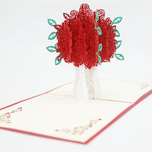Rose Pop-Up Gravura Cartão 3D Criativo Cartões Romantic Vermelho Flor Flor Handmade Cartão Valentim Day Gift Card personalizado VTKY2169