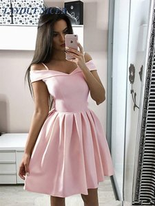 Modern Pink Homecoming Dresses V-Neck A Line Draped Short Prom Gown Mini Special Occasion Dress Cheap Party Cocktail Gowns Vesti 201119