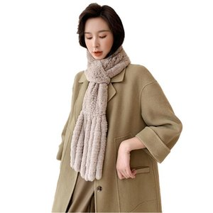 Fur Scarf Women Real Rex Fur Neckerchief With Tassel Winter Warm Fluffy Soft Black Beige Grey