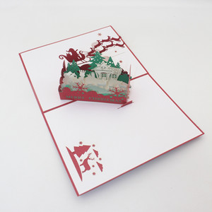 New Laser Cut Invitations Christmas Tree Handmade 3D Pop Up Christmas Eve Greeting Cards Free Shipping