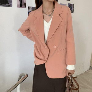 HziriP Notched Fashion Basic Solid Blazer Jacket New Autumn Winter Commuting Formal Women Blazers Back Splict Loose Suit Coat