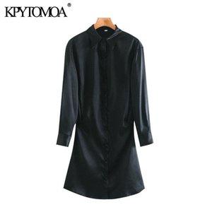 KPYTOMOA Frauen 2020 Chic Mode mit überdachten Knöpfen Weiche Touch Mini Kleid Vintage Langarm Side Reißverschluss Weibliche Kleider Mujer