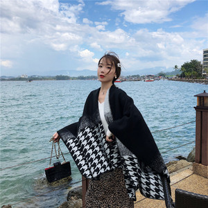Houndstooth national wind fall and winter scarves shawl female thick warm cashmere imitation outside oversized cape students take blankets