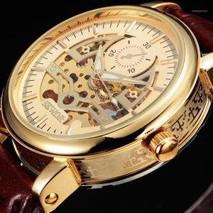 Gold Skeleton Watch Men Business Automatic Mechanical Wristwatch Leather Band Mens Watches Gift1