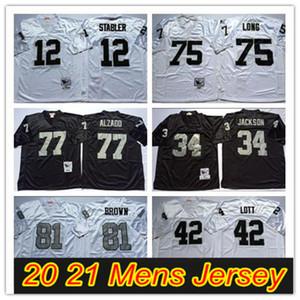 NCAA FÚTBRA DE FÚTBOL 81 Tim Brown Jerseys 12 Ken Stabler 34 Jackson 75 Howie Long 42 Ronnie Lott 77 Lyle Alzado Vintage Jersey Blanco Negro cosido