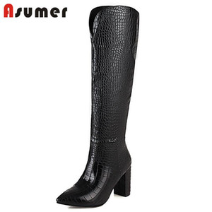 Asumer Big Size 34-48 Newest Knee High Boots Women Snake Pointed Toe Autumn Winter High Heel Party Shoes Women Long Boots