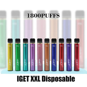 Autêntico IGET XXL Dispositivo de vagem descartável 1800 Puff 950mAh 7ml Philked Portable Vape Vape Vape Pen Bar Plus Max Air Kit 100% Originl