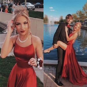 Red Cheap Spaghetti Straps Satin Long Prom Dresses Ruched Split Criss Cross Sweep Train Formal Party Gowns Evening Dresses P121