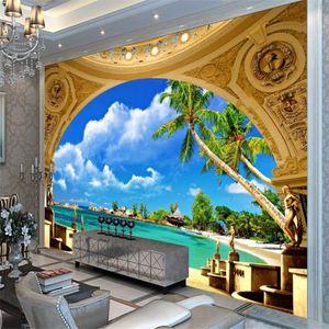 Morden green scenery beach wallpapers 3d murals wallpaper for living room 3d customized wallpaper