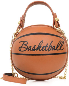 Women's Basketball Shaped Cross Body Messenger Bag Purse Tote Mini Shoulder PU Leather Round Handbag for Girls