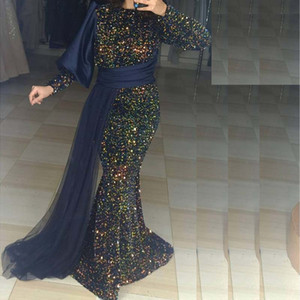 2021 Colorful Sequin Mermaid Muslim Evening Dresses O Neck Long Sleeve Overskirt Arabic Dubai Prom Gowns