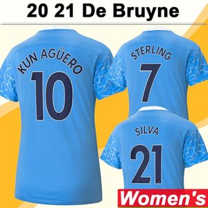 NCAA 20 21 KUN AGUERO Women Soccer Jerseys DE BRUYNE STERLING SIA Home Blue Away Black Football Shirt New G. JESUS Lady Short Sleeve Unifo