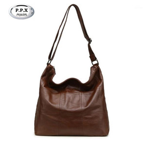 Original Big Casual Women Hobo Bag Soft Genuine Cow Leather Shoulder Bags Female Large Bucket Shopping Handbag M8871