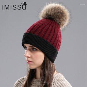 IMISSU Frauen Winter Hüte Gestrickt Echte Wolle Mützen Kappen Waschbär Pelz Pom Pom Hut Weibliche Lässige Outdoor Warme dicke Skullies1