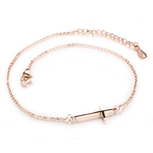 FAMI Women's Cross Anklet Titanium Steel Plated Rose Gold Feet Ornaments College Style Simple Small Accessories All-match