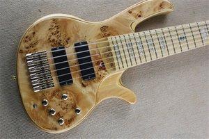 custom ebony fingerboard ,free shipping deoliver 6 strings bass guitar,ASH wood body, burl maple veneer,19 mm Chord distance,