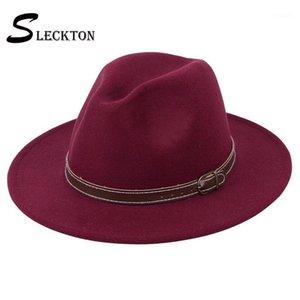 بخيل حافة القبعات sleckton أزياء فيدورا للنساء عارضة فتاة بنما الجاز كاب السيدات الصوف أعلى قبعة الرجال الرامي للجنسين gorras s10721