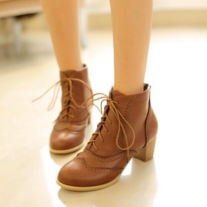 Retro womens lace up ankle boots brogue Carved Block chunky heel court shoes oxfords larger size