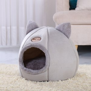 Soft Cat House Warm Bed Cave Tent with Removable Cushion Winter Sleeping Pet Pad Nest Cats Products Y200330
