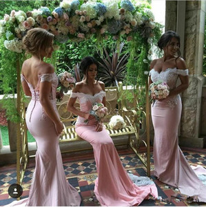 2020 New Spring Summer Off Shoulders Mermaid Bridesmaid Dresses Cap Sleeves Sweetheart Backless Button Appliques Maid of the Honor Dresses .