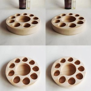 Essential Oil Stand Rack Display Porous Organizer Holder Natural Wooden Shelf Circular One Layer Log Color Custom Made 9bq B2