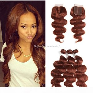 Auburn Hair Extension and Lace Closure Body Wave Virgin Hair Extension Color # 33 레이스 클로저 페루 인간 번들이있는 Auburn 헤어 번들
