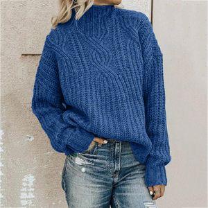 Свитера для женщин водолазки пуловеры мода твердый с длинным рукавом свитер свободный вязание 2021 зимняя одежда OC6