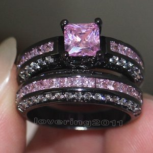 Victoria Wieck Brand Design Pink sapphire Simulated diamond 10KT Black Gold Filled engagement Wedding Band Ring Set Sz 5-11 Gift