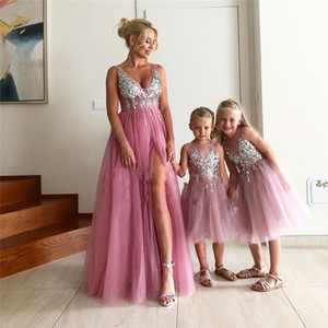 Blush Mother Daughter Evening Prom Dresses Girls 2021 Crystal Beaded Side Split Tulle Dress Evening Wear Cocktail Party Formal Vestidos De