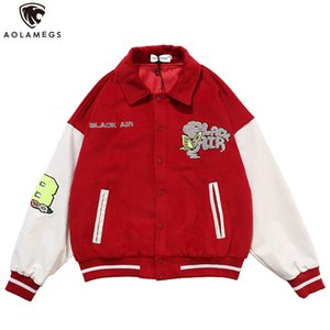 Aolamegs Baseball Jacket Men Furry Animals Patch Butterfly Embroidery Patchwork Jackets Coats Autumn Hip Hop Streetwear Fashion 201120