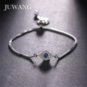 JUWANG Blue Evil Eye Charms With Gold Chains Bracelet for Women Cubic Zirconia Bracelets Christmas Jewelry Gift Wholesale