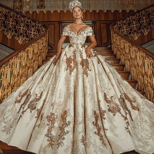 Arabic Luxury Ball Gown Wedding Dresses Lace Sequins Off Shoulder Vestidos De Novia 2021 Customize Sweep Train Bridal Dress