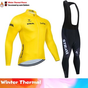 2020 STRAVA New long sleeve cycling jersey set men Winter Thermal Fleece Maillot Ropa Ciclismo outdoor sport MTB bike clothing