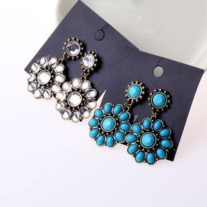 The new design Korean Rhinestones Earrings Multicolor Crystal Sunflower Earrings