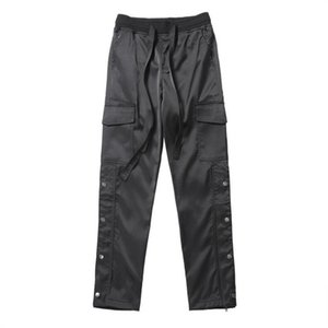 NAGRI Nylon Snap Cargo Pants Men's Black Streetwear Hip Hop Biker SweatPants With Straps Buttons Velcro Strap Closure Trousers X1116