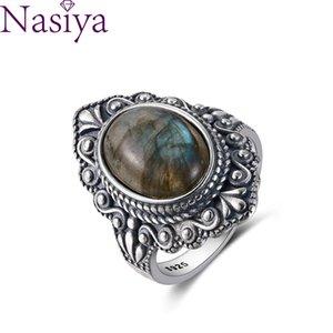 Nasiya Vintage Oval Natural Labradorite Anéis para Mulheres 925 Sterling Silver Ring Anel de Jóias Anel de Dedo Gemstone Anéis Presente De Party 201218