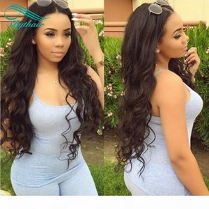 High Density Brazilian Virgin Hair Long Wavy Glueless Lace Front Human Hair Wigs For Black Women Pre Plucked Curly Lace Front Wig Bythair