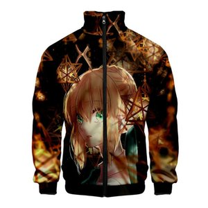 Men's Jackets Fate stay Night TV Animation Game Cartoon 3D Cool Japan Stand Collar Zip Sweatshirt Fashion Casual Jacket Plus Size Collge Sty