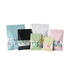 100pcs Foil Stand Up Bags with Frosted Window Packaging Ziplock Pouches for Tea Nuts Grains Accessaries Packing Tear Notch