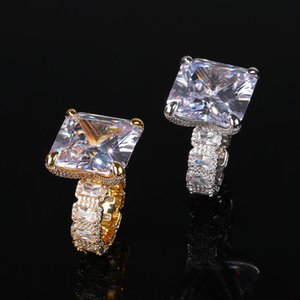 Gold Silver Jewelry Sparkling Big Radiant 5A CZ Diamond Couple Engagement Band Copper Rings