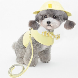 Harness Leash Hat Set Outdoor Pet Products Clothes Summer Dog Lead Chest Strap Cap Costumes Outfit Dropshipping Q1119
