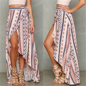 New Vintage Women Ladies Kaftan Slit Long Maxi Skirt Summer Boho Beach Sun Skirts