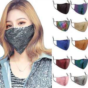 Fashion Bling Bling Washable Reusable Mask Face Care Shield Sun Gold Elbow Sequins Shiny Mount Masks for Women