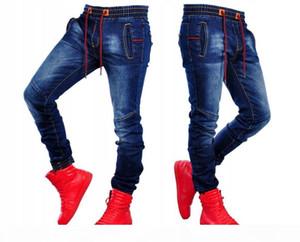 Men's Pure Colors Waists jeans Pants Moto Biker Jeans Slim Men Leisure Movement Skinny High Elastic Pencil Long Pants